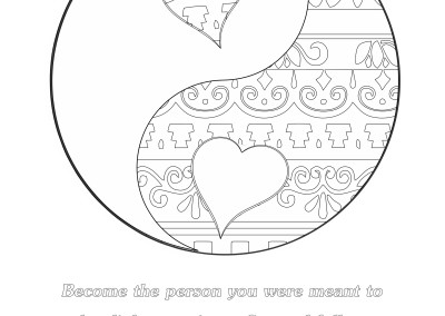 yin and yang with design full page - Yin Yang Coloring Page